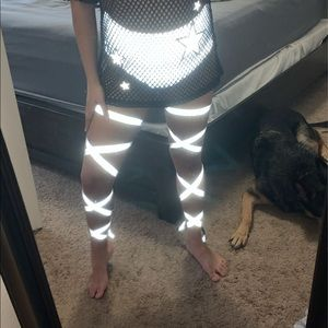 Reflective rave bottoms & non-slip leg wraps